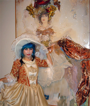 Colette dons an 18th century costume inspired by Marie Antoinette. Photo by: Roger Webster