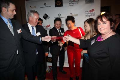 Professor Qei- Fei-Long showing his talent to Richard Alan, Michael S. Stryker, Jun Pasiculan, Professor Qi Fei- Long, Cristina  Fontinelli Opera Singer and Nancy Duffy of Over 40 Women