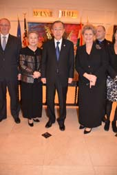 H.E. Ban Ki-moon, Secretary General of the United Nations and Madame Ban Soon- Taek and Host H.E. Ms. Katalin Annamaria Bogyay Permanent Representative of Hungary.  Photo by:  Rose Billings/Blacktiemagazine.com