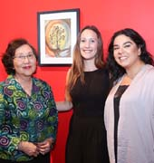 MiM artist Lorna Park,  MiM Manager Brianne Ellworth and ALZGLA Director, Clinical Outreach pictured with Lorna?s artwork entitled ?The Mystic Mirror?