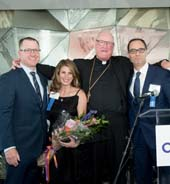 Committee Co-Chairs Thomas O�Halloran, Andrea Baker, Timothy Dempsey, and His Eminence, Timothy Michael Cardinal Dolan.  Photo by: Ben Asen