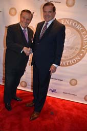 Marvin Scott, Senior Correspondent/Anchor PIX 11 Newscloseup and Governor Tom Ridge, The First Secretary of Homeland Security and FEHSFB Honorary Chairman.  Photo by:  Rose Billings/Blacktiemagazine.com