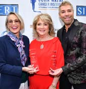 Mother of the Year Awardee Sharon Stone, ABCs President Gloria Gebbia and Humanitarian Awardee Chaz Dean