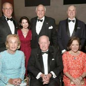 Lawrence and Lori Fink, Ken and Elaine Langone, Robert I. Grossman, MD, Dean and CEO of NYU Langone, Elisabeth J. Cohen, MD, and honoree Thomas S. Murphy at the 2017 Violet Ball