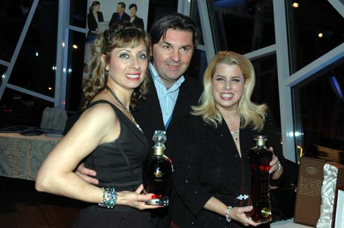 Zina Mashin, Sam Ramic of Wine World Wide Inc. Rita Cosby holding the Giorgio G COGNAC (by famous designer Giorgio GUCCI