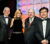 From left: Dr. Steven J. Corwin, president and CEO of NewYork-Presbyterian, Jessica M. Bibiliowicz, chairman of Weill Cornell Medicine's Board of Overseers, Frank A. Bennack, Jr., chairman of NewYork-Presbyterian's Board of Trustees, and Dr. Augustine M.K. Choi, interim dean of Weill Cornell Medicine, during the annual Cabaret benefit dinner on Nov. 9 at Pier Sixty, Chelsea Piers. The event raised $3.5 million to support the institutions' ongoing work in patient care, biomedical research and medical education..  Photo by:  Studio Brooke