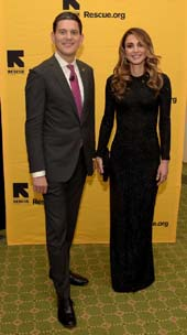 International Rescue Committee President David Miliband and Queen Rania Al-Abdullah of Jordan