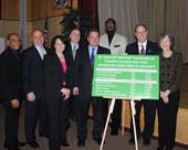 Wilson Terrero, Yonkers City Council Majority Leader, 2nd District; Bernard Pierorazio, Yonkers Superintendent; Lorelei Vargas, Vice President of Strategic Initiatives, Andrus Children�s Center; Brian Farragher, COO of Andrus Children�s Center; Yonkers Mayor Mike Spano; Jim Bostick, Executive Director of the Nepperhan Community Center; Chuck Lesnick, Yonkers City Council President; Nancy Ment, President and CEO of Andrus Children�s Center